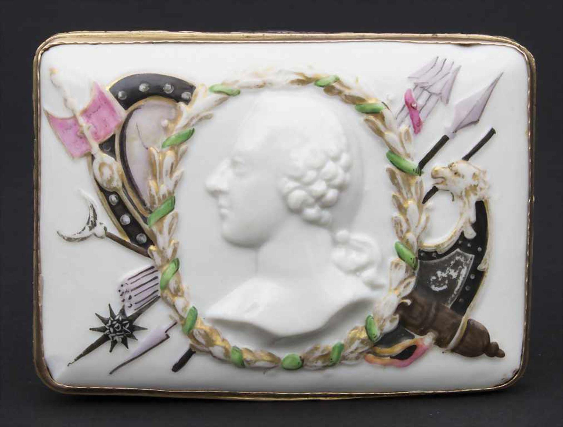 Seltene, reich verzierte Tabatiere / Schnupftabakdose mit dem Reliefportrait 'Friedrich der Große' / - Bild 2 aus 6
