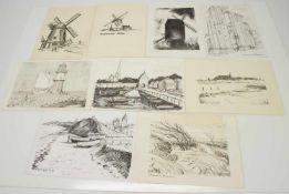 Kurt Kaiser(Rostocker Künstler d. 20. Jh.)9 Zeichnungen Mecklenburger Landschaftdiverse Techniken (