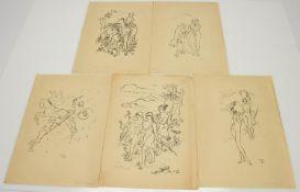Ulrich Güssow(Quedlinburg 1907 - 1949, deutscher Maler u. Grafiker)5 Lithografienvorwiegend