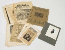 """Lotdiverse Lithografien, Aquarelle etc., darunter """"Die Zeichnung"""" Max Liebermann, 19./ 20. Jh.,"""