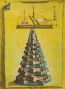 Jory Neubert (wohl)(Französischer Grafiker d. 20. Jh.)Computer von BabylonOrig. Farbradierung, 76
