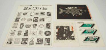 Lot Grafik4 Grafiken, Volker Wendt/ Leipziger Bilderbogen Nr. 30 (1983), Malbrief d. Edition HAP