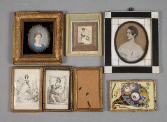 Konvolut Miniaturen19./20. Jh., 5 Stück, dabei zwei Damenportraits Gouache auf Elfenbein, zwei
