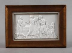 Klassizistisches Stuckrelief19. Jh., ungemarkt, antikisierende Darstellung am Brunnen, wo zwei junge