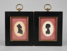 Zwei biedermeierliche SchattenrisseHerren- und Damenportraitbüste im Profil, wohl Tusche auf Papier,