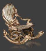 Grottensessel Venedig19. Jh., Buche massiv, geschnitzt und versilbert, partiell patiniert und farbig