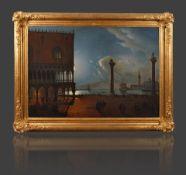 Piazza San Marco in Venedig im Mondlichtstimmungsvolle Nachtlandschaft mit Passanten im hellen