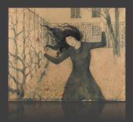 Prof. Fritz Erler, Das Mädchen mit der Rosedunkel gekleidetes Mädchen mit im Wind zerfallender