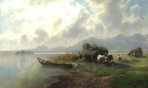 Robert August Rudolf SCHIETZOLD (1842 - 1908). Heuernte am Chiemseemit Blick auf die Fraueninsel. 71