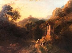 William HAVELL (1782 - 1857) zuges. ''The Roadside Cross near Subiuco''. 1849.57,5 cm x 80 cm.