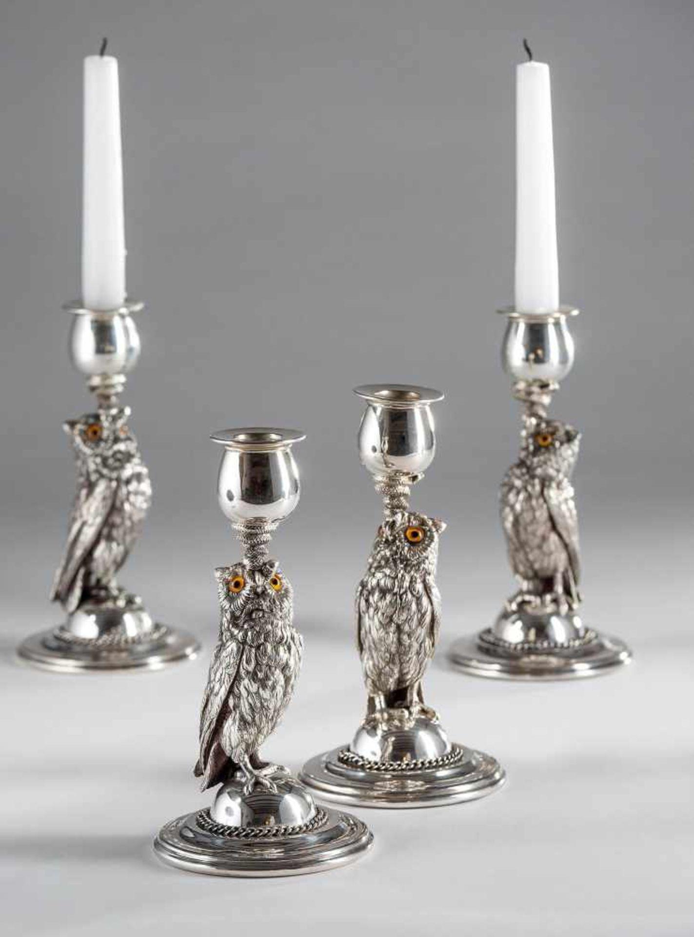 """4 massive Kerzenleuchter """"Eulen"""""""
