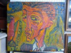 D. Coot, an oils on canvas abstract portrait of a young man, signed (72 x 85 cm), unframed TO BID ON