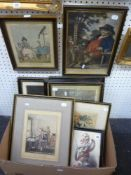 A collection of nine framed antique prints relating to theatre, humour, politics, etc., including '