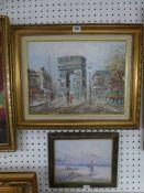 A mid-20th century oils on canvas, Parisian street scene (30 x 40 cm), and a smaller oils on board