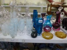 A collection of glassware including blue Whitefriars bark effect vase, plus further Whitefriars