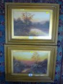 A pair of early 20th century oils on paper landscapes (20 x 30 cm), both framed (2) TO BID ON THIS