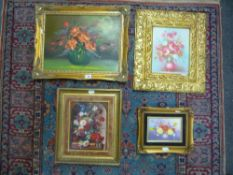 Bloemart, a Flemish-style oils on panel still life of flowers and three other oils of flowers (