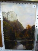 C. Willis Pryce, an unframed oils on canvas, footbridge over a river, signed (46 x 30 cm) TO BID
