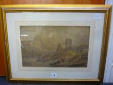 David Cox, a framed watercolour , 'Selling the catch on the beach', signed (23 x 37 cm) TO BID ON