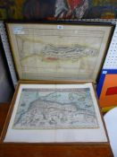 An antique engraved and hand-coloured map 'Barbariae et Biledulgerid Nova Discription', and a map of