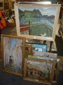 A collection of six various oils, including a view over a bay by Mathews, town square at Vevey by J.