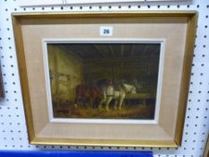B. Zoble, oils on panel, horses at a manger in a stable, signed and dated 1797 (21 x 36 cm),