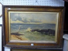 R. Andrew Smith, RSW, oils on canvas, a rocky coastline, signed (39 x 64 cm), framed TO BID ON