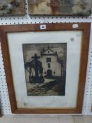 After J.D. Saridakis, a soft-ground etching 'The Christ of the Lanterns, Cordoba, Spain',