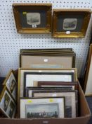 A selection of 20 various antique prints and engravings, including topographical, hunting scenes,