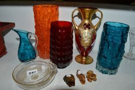 A Whitefriars tangerine Bark vase, another in kingfisher blue, and a small kingfisher blue jug,
