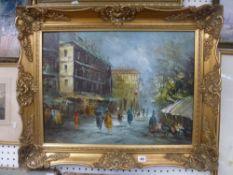 A mid-20th century oils on canvas of a Parisian flower seller (45 x 60 cm), gilt swept frame TO