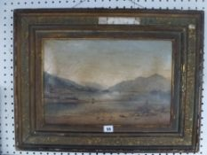 E.Y.S., oils on canvas, shore scene of a mountain lake, signed with initials (30 x 45 cm), framed TO