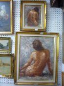 Barton, two framed oils on canvas nude figure studies, both signed (largest 50 x 40 cm), both framed