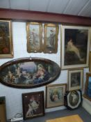 A mixed lot of framed chromolithographs and an oleograph including a Pears print and a 19th