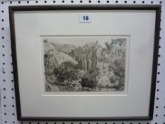'Chateau Correze', a limited edition etching by Anthony Gross, 277/500, numbered in pencil in the