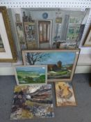 Frank Greaves, an oils on canvas laid to board, a homely interior, signed with initials and dated '