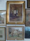 Doris Hickson, oils on canvas, 'Derelict wheels, Suffolk', signed, and Appleyard (?), oils on