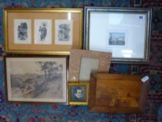 Small pictures, comprising of Venice, in sepia of a band of travellers on the road, a picture in