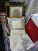 An interesting mixed lot of antique and vintage pencil drawings, some framed, others in albums,