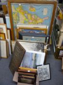 A large and miscellaneous selection of various framed prints, etc., including a map, photograph,