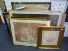A collection of 14 various antique prints and engravings, including large narrative and historical