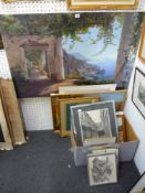 A large selection of various framed and unframed prints, including a large coloured print of an