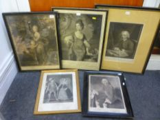 A selection of five framed antique prints and engravings, including of Mary Stuart and Henry, Lord