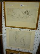 Two modern school pen and ink nude figure studies (largest 30 x 36 cm), one framed (2) TO BID ON