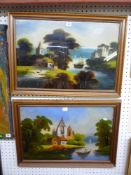 A pair of naïve 19th century reverse glass paintings each showing ruins by a river (each 40 x 60