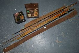 Split cane fishing rod and another rod and three old reels, two stamped Milwards TO BID ON THIS