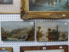 A pair of 19th century North American School oils on canvas, one depicting two men in a canoe