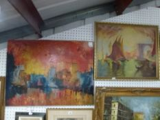 Tano di Limene, oils on canvas, 'Venezia, Quartieri nuovi', signed, unframed, and another oils on