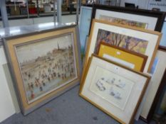 After L.S. Lowry, two coloured prints, together with prints of dogs, two prints after Diego