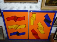 Auton, a diptych oils on board brightly coloured geometric abstract, signed, each on panel (each